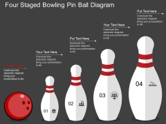 Four Staged Bowling Pin Ball Diagram Powerpoint Template