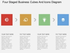 Four Staged Business Cubes And Icons Diagram Powerpoint Template