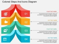 Four Staged Colored Steps And Icons Diagram Powerpoint Template