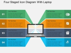 Four Staged Icon Diagram With Laptop Powerpoint Templates
