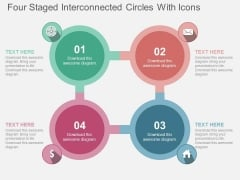 Four Staged Interconnected Circles With Icons Powerpoint Templates
