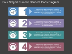 Four Staged Numeric Banners Icons Diagram Powerpoint Template