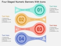 Four Staged Numeric Banners With Icons Powerpoint Template