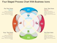 Four Staged Process Chart With Business Icons Powerpoint Templates
