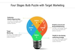 Four Stages Bulb Puzzle With Target Marketing Ppt Powerpoint Presentation Infographic Template Designs Download Pdf