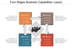 Four Stages Business Capabilities Layout Ppt PowerPoint Presentation File Model PDF