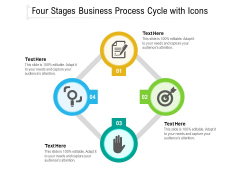 Four Stages Business Process Cycle With Icons Ppt PowerPoint Presentation File Templates PDF