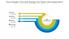 Four Stages Circular Design For Team Development Ppt PowerPoint Presentation File Styles PDF