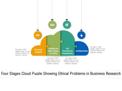 Four Stages Cloud Puzzle Showing Ethical Problems In Business Research Ppt Powerpoint Presentation Pictures Ideas Pdf