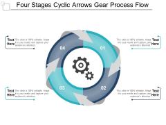 Four Stages Cyclic Arrows Gear Process Flow Ppt Powerpoint Presentation Slides Ideas