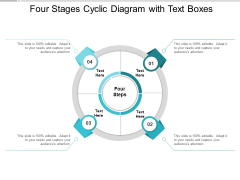 Four Stages Cyclic Diagram With Text Boxes Ppt Powerpoint Presentation Icon Visual Aids