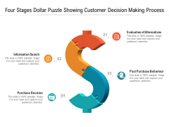 Four Stages Dollar Puzzle Showing Customer Decision Making Process Ppt Powerpoint Presentation Styles Professional Pdf