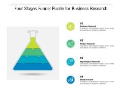 Four Stages Funnel Puzzle For Business Research Ppt Powerpoint Presentation Ideas Graphics Pdf