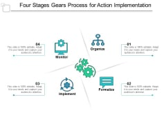 Four Stages Gears Process For Action Implementation Ppt Powerpoint Presentation Infographics Skills
