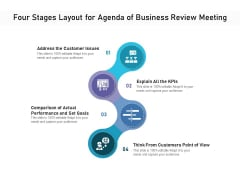 Four Stages Layout For Agenda Of Business Review Meeting Ppt PowerPoint Presentation Gallery Demonstration PDF
