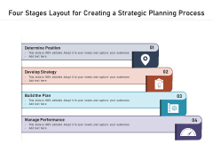 Four Stages Layout For Creating A Strategic Planning Process Ppt PowerPoint Presentation Gallery Visual Aids PDF