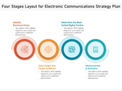 Four Stages Layout For Electronic Communications Strategy Plan Ppt PowerPoint Presentation Gallery Portrait PDF