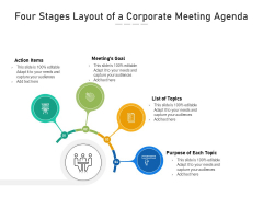 Four Stages Layout Of A Corporate Meeting Agenda Ppt PowerPoint Presentation Gallery Shapes PDF
