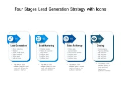 Four Stages Lead Generation Strategy With Icons Ppt PowerPoint Presentation Gallery Topics PDF