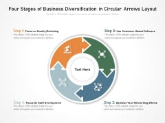 Four Stages Of Business Diversification In Circular Arrows Layout Ppt PowerPoint Presentation Gallery Design Inspiration PDF