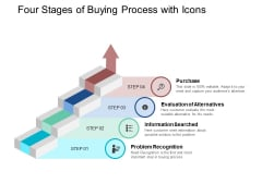 Four Stages Of Buying Process With Icons Ppt PowerPoint Presentation Infographics Deck