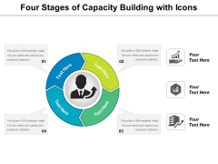 Four Stages Of Capacity Building With Icons Ppt PowerPoint Presentation Show Example Topics PDF