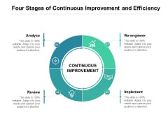 Four Stages Of Continuous Improvement And Efficiency Ppt PowerPoint Presentation Pictures Layout Ideas PDF