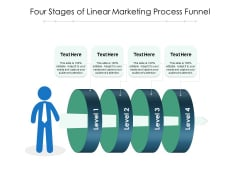 Four Stages Of Linear Marketing Process Funnel Ppt PowerPoint Presentation Pictures Template PDF