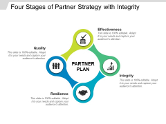 Four Stages Of Partner Strategy With Integrity Ppt PowerPoint Presentation Model Gridlines PDF
