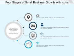 Four Stages Of Small Business Growth With Icons Ppt PowerPoint Presentation Icon Maker