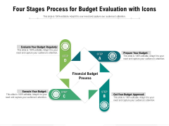 Four Stages Process For Budget Evaluation With Icons Ppt PowerPoint Presentation Styles Files PDF