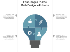 Four Stages Puzzle Bulb Design With Icons Ppt PowerPoint Presentation Summary Design Inspiration