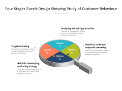 Four Stages Puzzle Design Showing Study Of Customer Behaviour Ppt Powerpoint Presentation Inspiration Visuals Pdf