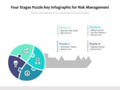 Four Stages Puzzle Key Infographic For Risk Management Ppt PowerPoint Presentation Styles Grid PDF