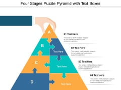 Four Stages Puzzle Pyramid With Text Boxes Ppt Powerpoint Presentation Slides Visuals