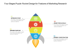 Four Stages Puzzle Rocket Design For Features Of Marketing Research Ppt Powerpoint Presentation Gallery Shapes Pdf
