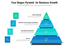 Four Stages Pyramid For Business Growth Ppt PowerPoint Presentation Icon Diagrams PDF