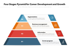 Four Stages Pyramid For Career Development And Growth Ppt PowerPoint Presentation Gallery Diagrams PDF
