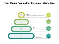 Four Stages Pyramid For Investing In New Idea Ppt PowerPoint Presentation Gallery Brochure PDF