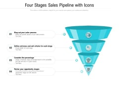 Four Stages Sales Pipeline With Icons Ppt PowerPoint Presentation Gallery Topics PDF