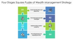 Four Stages Square Puzzle Of Wealth Management Strategy Ppt PowerPoint Presentation Gallery Layouts PDF