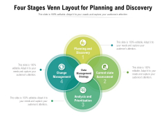 Four Stages Venn Layout For Planning And Discovery Ppt PowerPoint Presentation Icon Structure PDF