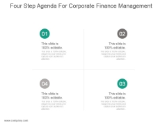 Four Step Agenda For Corporate Finance Management Ppt Sample
