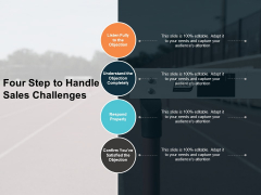 Four Step To Handle Sales Challenges Ppt PowerPoint Presentation Gallery Graphics Design