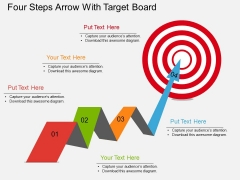 Four Steps Arrow With Target Board Powerpoint Template
