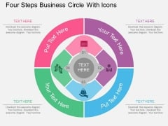 Four Steps Business Circle With Icons Powerpoint Template