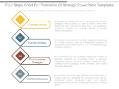 Four Steps Chart For Formation Of Strategy Powerpoint Templates