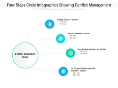 Four Steps Circle Infographics Showing Conflict Management Ppt PowerPoint Presentation Gallery Skills PDF
