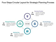 Four Steps Circular Layout For Strategic Planning Process Ppt PowerPoint Presentation Gallery Layouts PDF