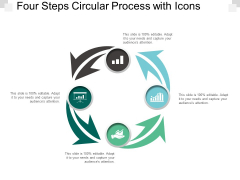 Four Steps Circular Process With Icons Ppt Powerpoint Presentation Model Clipart